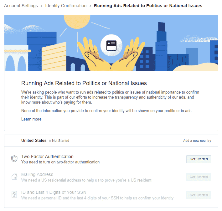 FACEBOOK AD AUTHENTICATION related to politics