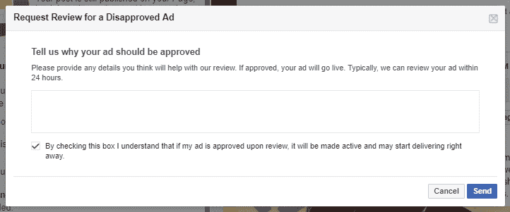 FACEBOOK AD REVIEW disapproved