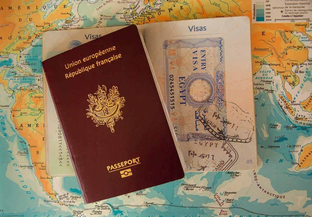 Travel visa and map