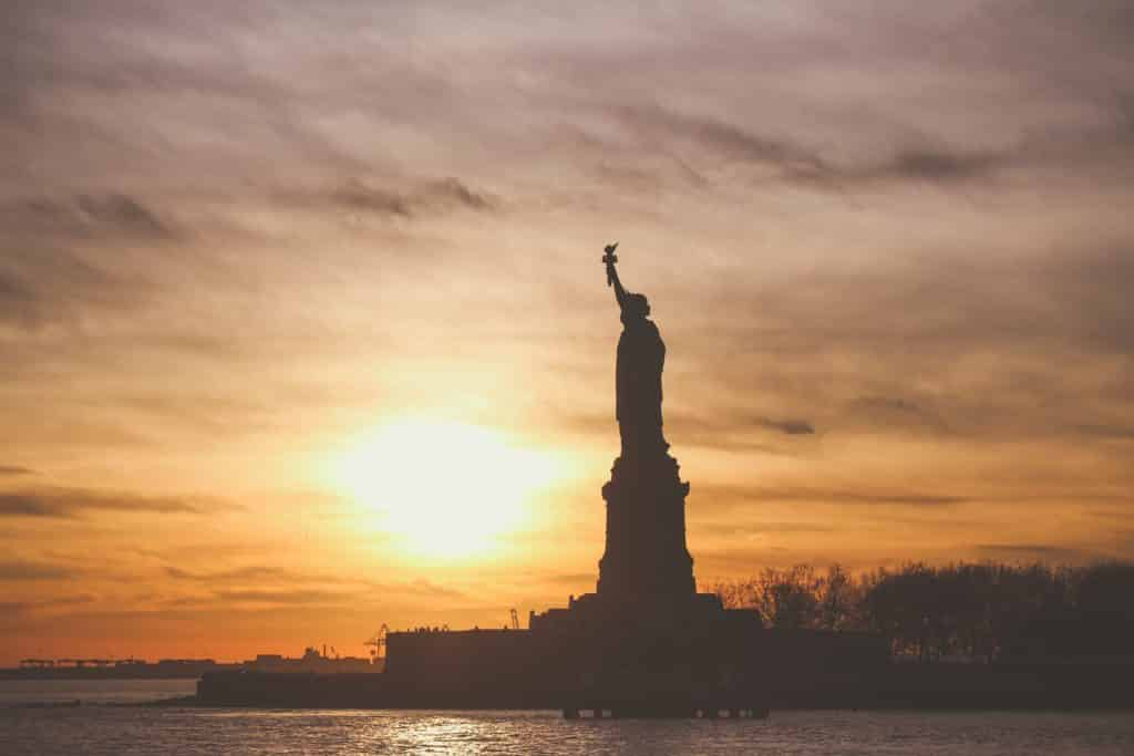 statue of liberty, sunset